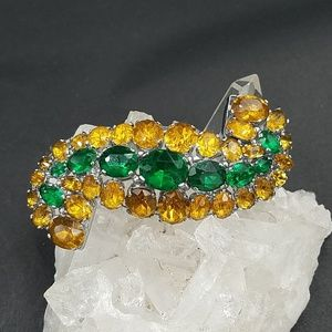 Vintage 1930s  Czech Gold and Green Brooch